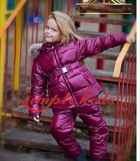 2016 jaqueta de inverno Snowsuit roupas para baixo casaco criança para baixo do terno das crianças bebê definir gola de pele vermelha grande paletó ski & pant