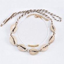 Boho Seashell Foot Anklet For Women Natural Sea Shell Beach Ankle Leg Bracelet Cheville Femme Barefoot Gold Rope Set