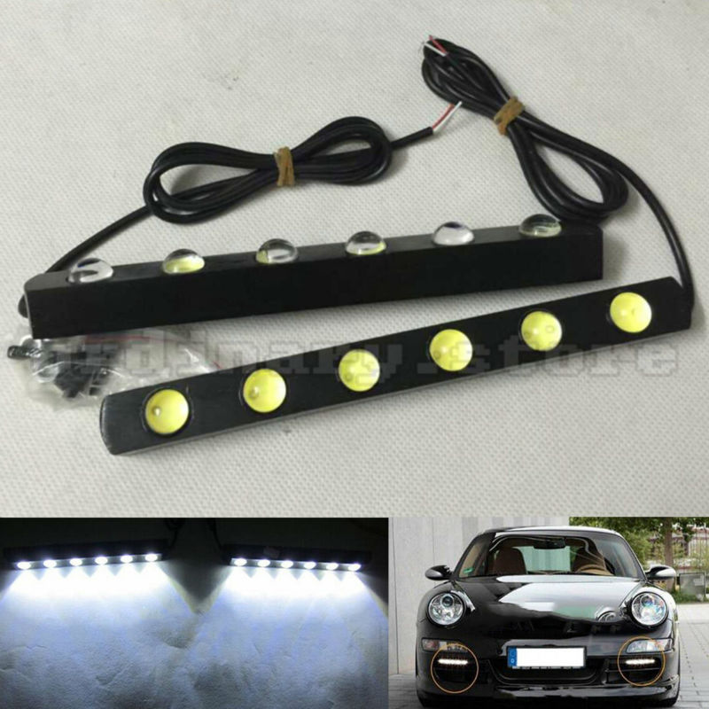 1 Pair Metal Shell Eagle Eye Hawkeye 6 LED Car White DRL Daytime Running Light Driving Fog Daylight Day Safety Lamp Waterproof 1 pair 12 led strip flexible snake style eagle eye car drl daytime running light driving daylight safety day fog lamp
