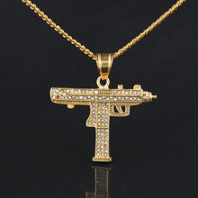 Gold color Men Hop hip Uzi Gun Pendant Necklaces Full Rhinestone iced out Submachine Gun Fashion mens hophip necklace jewelry(China)