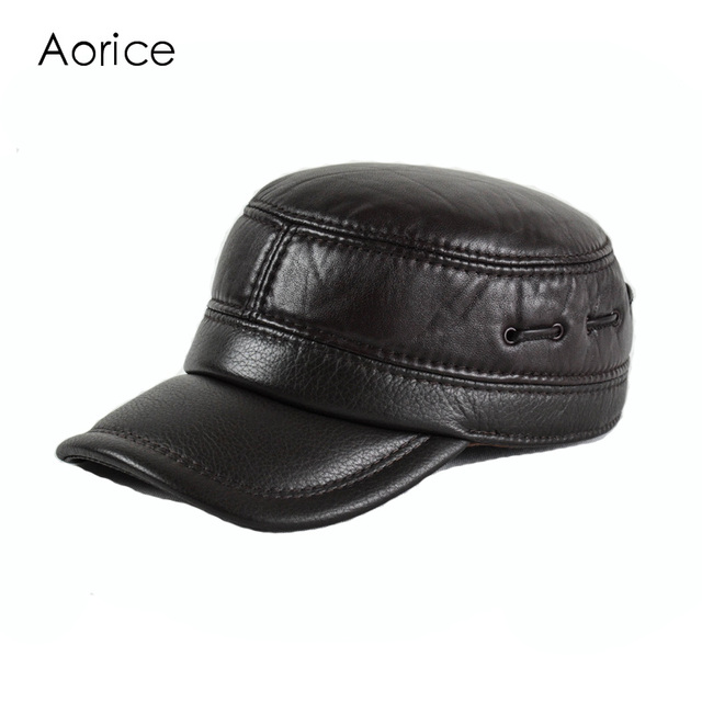 6ae09085064 HL160-F Genuine leather baseball golf sport cap hat men s brand new leather  army military hats caps with ear flap brown black