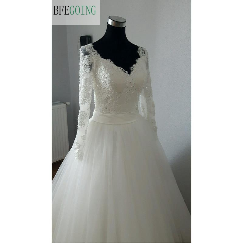 Ivory  Lace Appliques Tulle Satin Lace V-Neck  Long Sleeves  Beading  A-line  Floor-Length Wedding Dresses Lace Up
