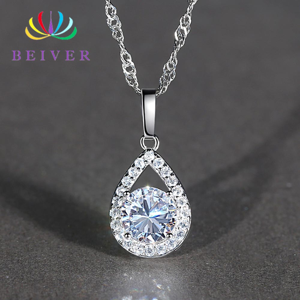 Beiver White Gold Color Jewelry Wholesale AAA+ Cubic Zirconia Wedding Bands Water Drop Necklace for Women Party Gifts