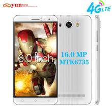 2017 yunsong s10 плюс 6.0 дюймов qhd мобильного телефона 16.0mp камера MTK6735 Quad Core Dual Sim Мобильный Телефон GSM/WCDMA/4 Г LTE смартфон
