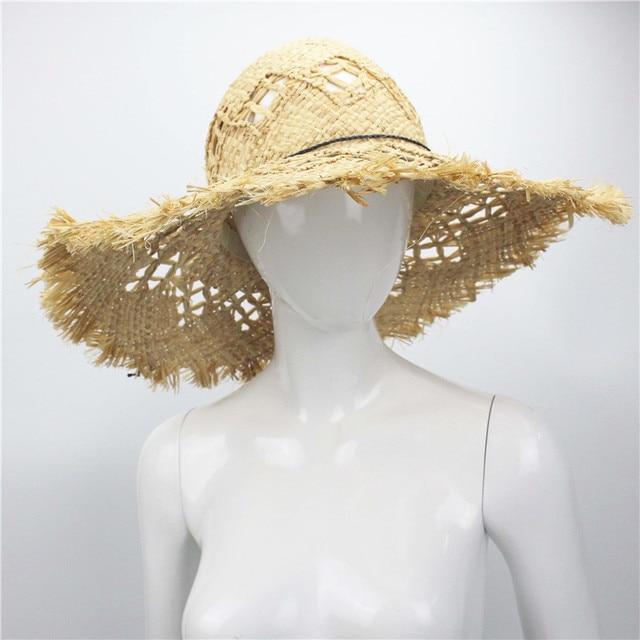 d3b36db07e092 Summer Beach Women Fedora Cap Wide Brim Vacation Floppy Straw Sun Hat 46cm  Hand Made Straw