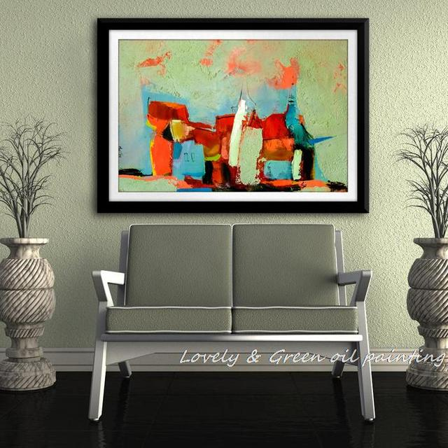 No Framed 100% Hand-painted Modern Abstract Dusk Landscape Oil Painting On Canvas Wall Art Picture For Living Room Decoration