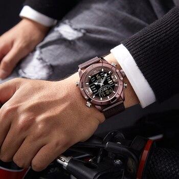 NAVIFORCE Men's Dual Display Mesh Belt Military Waterproof LED Clock Sports Quartz Watches 4