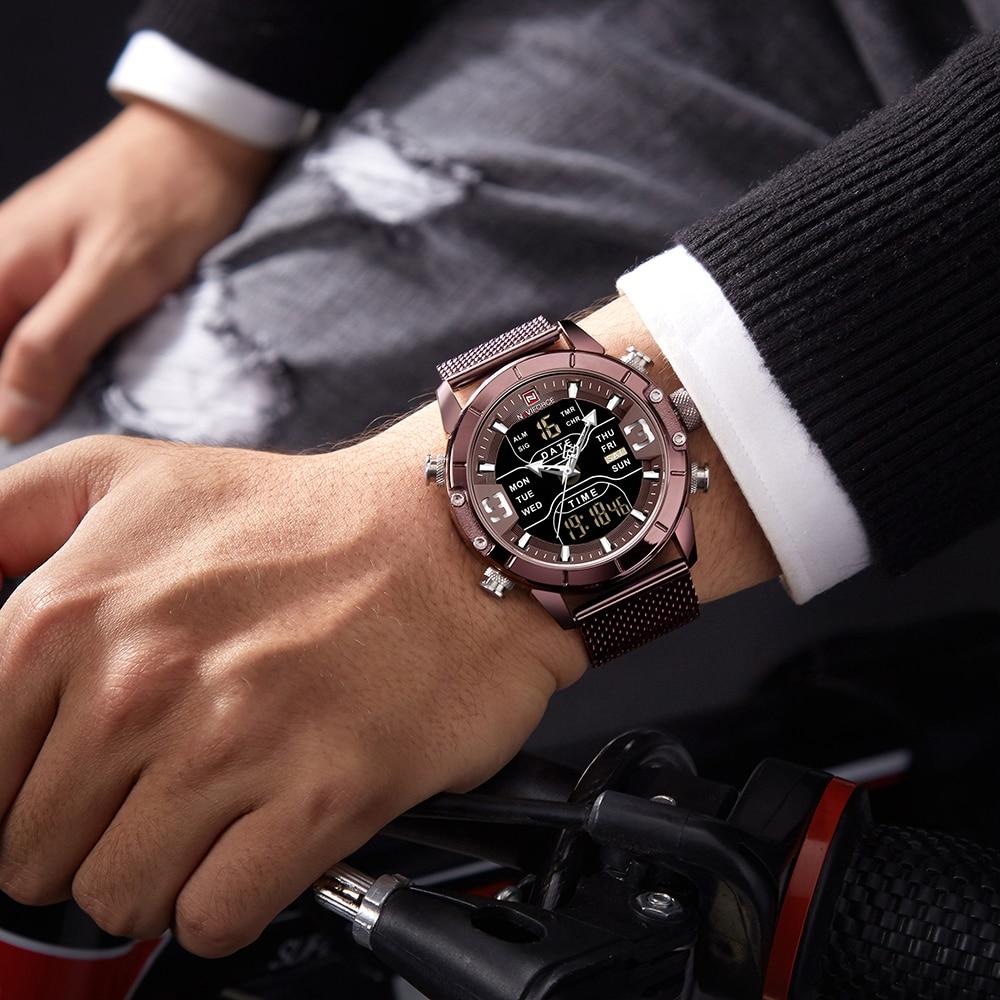 NAVIFORCE Watch Men Mesh belt Military Watch 30m Waterproof Wristwatch LED Quartz Clock Sport Watch Male Relogios Masculino