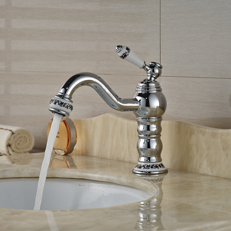 ФОТО Deck Mount Single Handle Basin Mixer Taps Chrome Brass Bathroom Vessel Sink Faucet with Hot Cold Water
