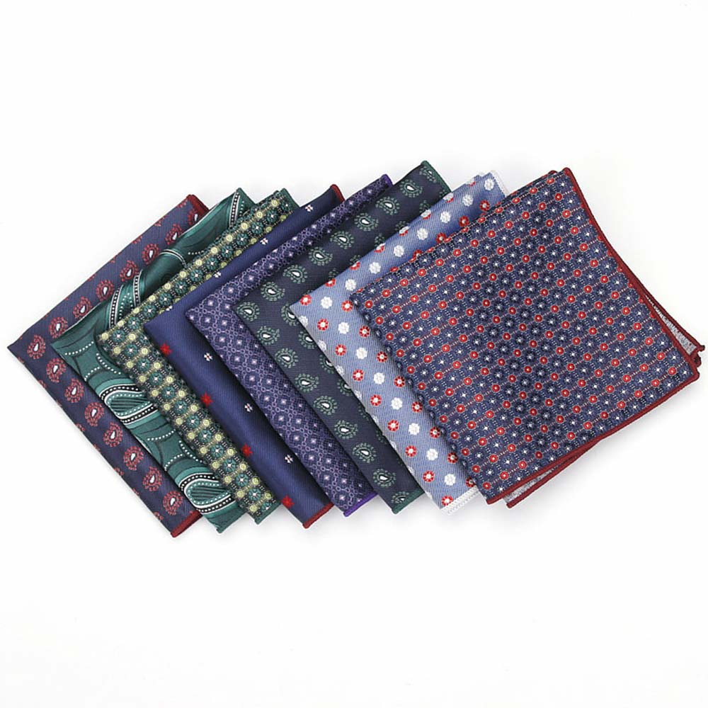 HUISHI Men's Pocket Square Polka Dot Handkerchief Dots Hanky Suits Pocket Square With High Bind Off