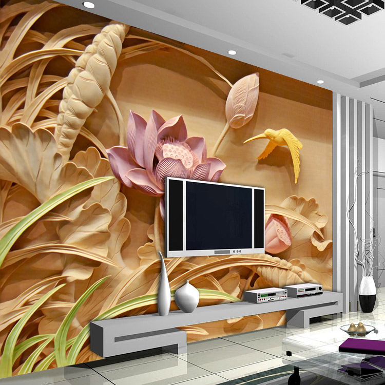 Buy 3d woodcut lotus flower wallpaper for Custom mural wallpaper uk