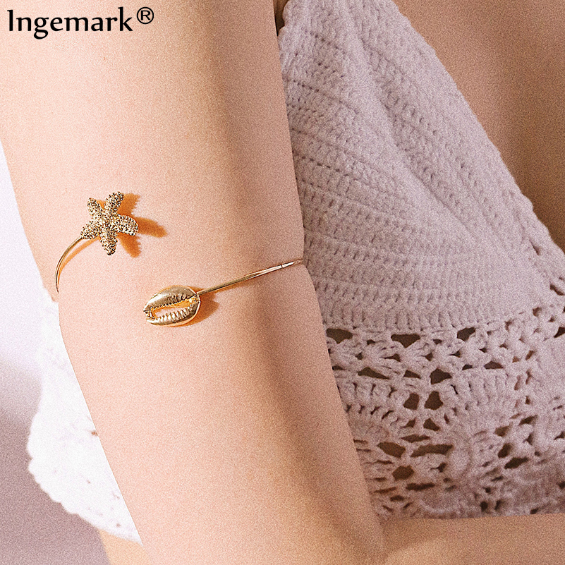 Ingemark Love Bracelet Bohemian Starfish Upper Arm Bangle Pulseira Retro Gold Color Shell Armlet Cuff Open Bangles Femme 2019 in Bangles from Jewelry Accessories