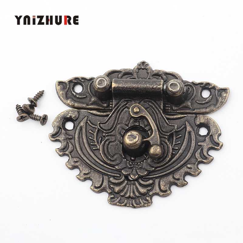 55*48mm 1pc Antique Latches Catches Hasps Solid Clasp Buckles Agraffe Small Lock For Wooden Box Hardware Bronze Color,