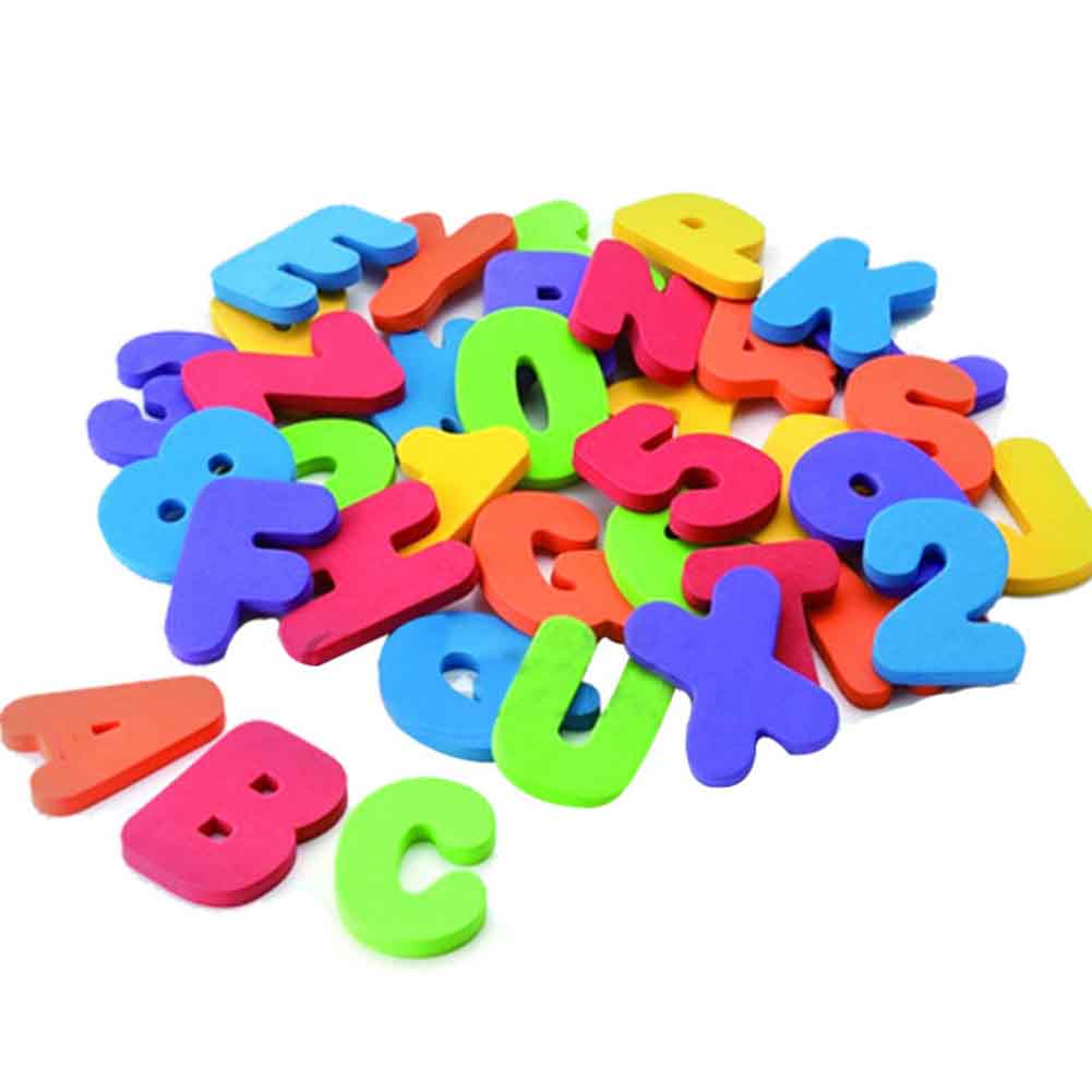Useful 36 pcs learning educational stickers for baby during shower eva bath Alphanumeric Letters water coaxing
