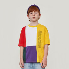 Childrens Short-sleeved T-shirt 2019 Summer New Fashion Boys Retro Letters Printed Loose Kid Cotton T-Shirt Tops