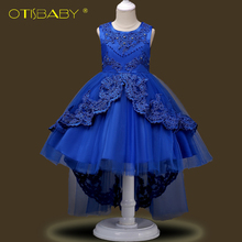 2018 New Children Lace Flowers Wedding Party Dress for Girls Clothing Kids Long Graduation Ceremony Evening Communion Dresses 12