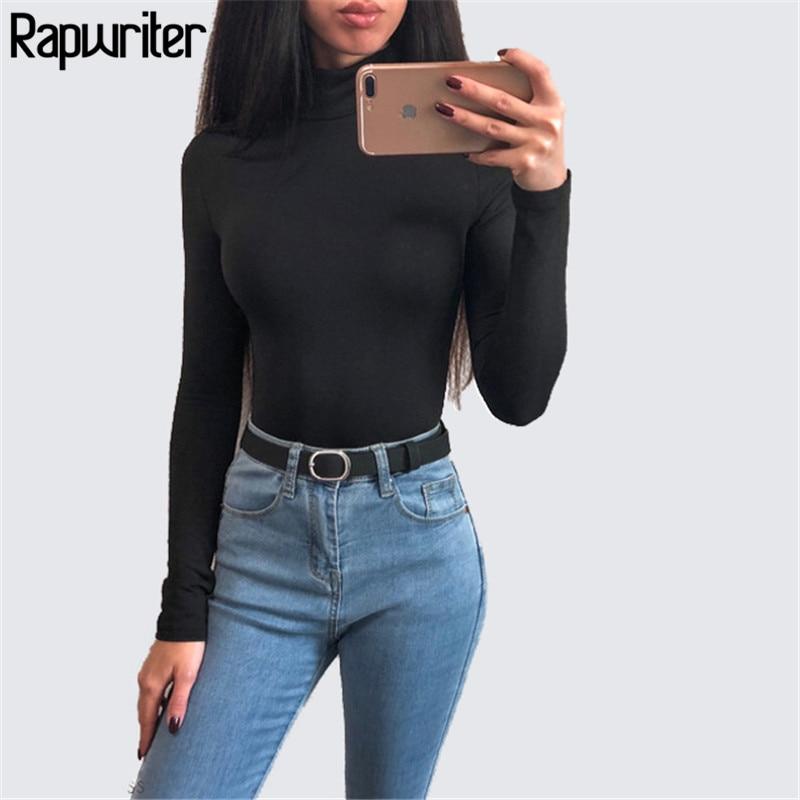 Rapwriter Sexy Solid Color Turtleneck Skinny Bodysuits Women 2018 New Autumn Winter Keep Warm Long Sleeve Bodycon Sheer Bodysuit