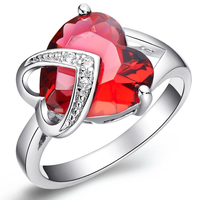 Luxury Natural Red Ruby Gem Stone Ring Lover S Birthstone Women 18k Real White Gold Filled