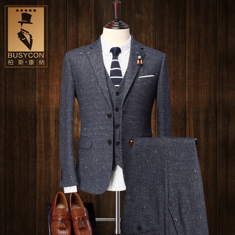 a42824ac8ca ... Tuxedo Jacket For Men Wedding. US  250.00. 30% Wool Slim Fit 3 Piece  Tweed Suit Mens Stage Wear Cotton Mens Suits For