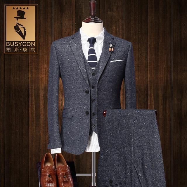 30% Wool Slim Fit 3 Piece Tweed Suit Mens Stage Wear Cotton Mens ...