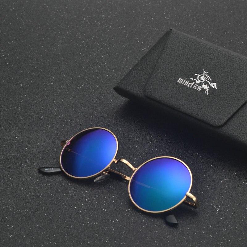 MINCL/ punk Polarized Sunglasses Men Women Retro Brand Designer Small Round Alloy Frame Summer Style Unisex Sun Glasses LXL 5