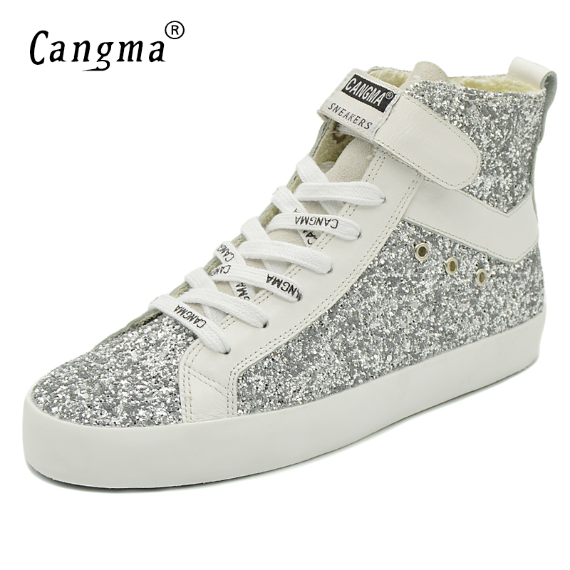 CANGMA Original Luxury Ankle Boots Sequin Casual Shoes Genuine Leather  Sneakers Womens Silver Glitter Shoes Woman Boots Female-in Ankle Boots from  Shoes on ... 92a6e91697a3
