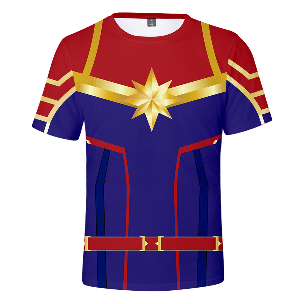 New Arrival Men&Women T-Shirt 3D Movie Version Captain Marvel Carol Danvers Cosplay Costume Superhero T-shirt