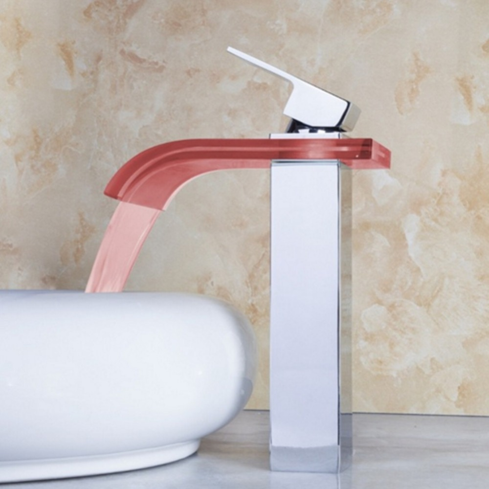 New Style Bathroom Basin Faucet LED,Water Power No Battery 3 Color Change Light Waterfall Spout Single Hand Washroom Sink Mixer