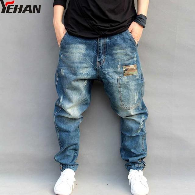 875948d97ad Мужские джинсы Большие размеры эластичные свободные зауженные шаровары  хлопковые дышащие джинсы мешковатые Jogger повседневные брюки M