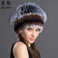 Cap Female Genuine Rex Rabbit Fur With Fox Fur Balls Women Winter Hats Custom Made Fur