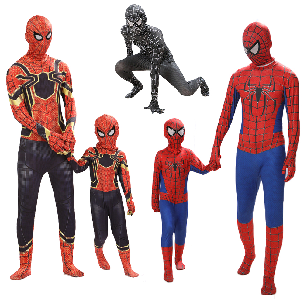 Kids Adult Spiderman Costume Red Black Spider Man Jumpsuits Halloween costumes anime cosplay Spider-man Clothing