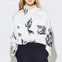 Ving Women Summer Blouse Fashion Printed Long Sleeve Turn Down Collar Shirt 2017 New Arrival Female