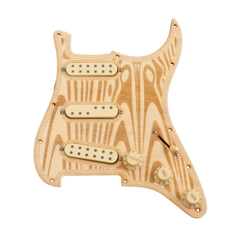 Electric Guitar Replacement 12 Screws Pre wired Pickguard Maple Wood Pickup Guard for Strat