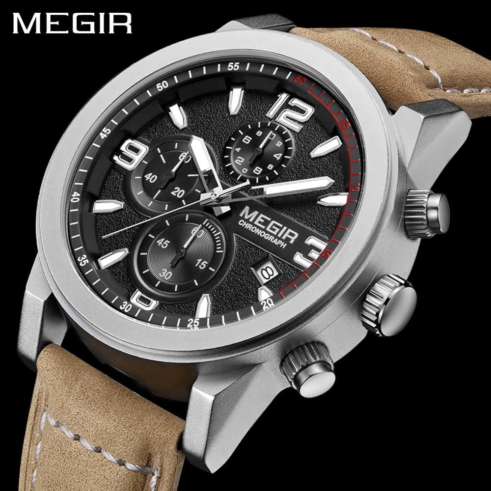 MEGIR Brand Luxury Military Watches Men Quartz Chronograph Leather Strap Classic Clock Man Sports Wrist Watch Relogios Masculino