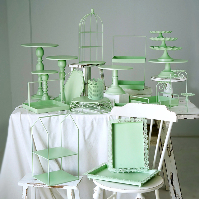 Green cake stand cupcake trays cake tools home decoration party dessert table suppliers perfume make up storage holders