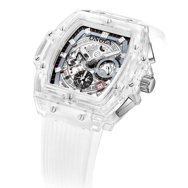 Onola brand transparent plastic watch men women clock 2021 fashion sports casual unique quartz luxury square mens watch