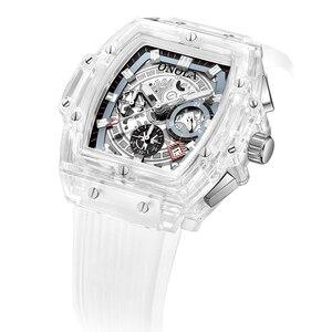 Image 2 - ONOLA العلامة التجارية ساعة يد بلاستيكية شفافة الرجال النساء على مدار الساعة 2020 موضة الرياضة عادية فريدة من نوعها الكوارتز الفاخرة مربع ساعة رجالي
