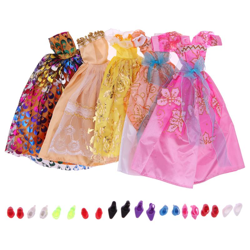 5pcs Doll Accessories Clothes Fashion Girls Dresses+10 Pair Shoes for Barbie Doll Children Girls Christmas Gift Toy Random Color new 20 pcs set handmade party 12 clothes fashion mixed style dress 8 pair accessories shoes for barbie doll best gift girl toy