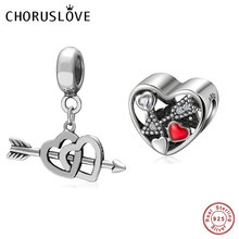 Choruslove Dangle Double Heart Arrow Pendant 925 Sterling Silver of Cupid Charm Beads fit Pandora Love DIY Bracelet