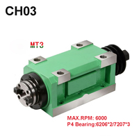 New Arrival CH03 MT3 Spindle Taper Chuck 1.5KW Power Head Power Unit Machine Tool Spindle Max.RPM 6000rpm for Milling Machine
