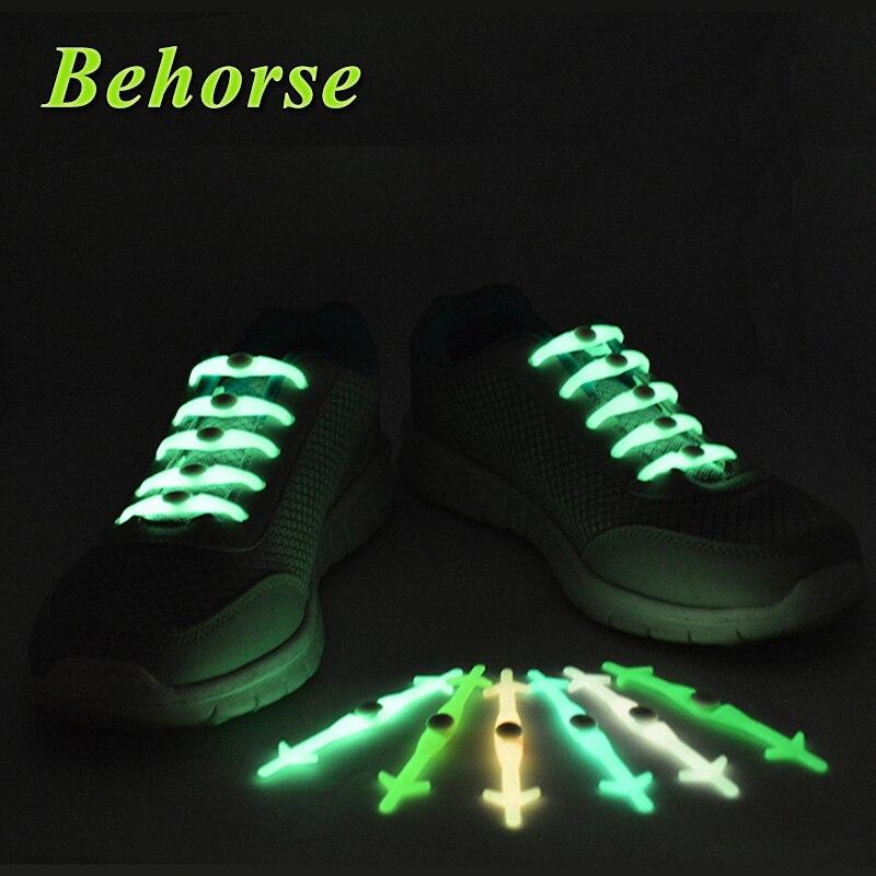 Silicone Light Shoe Lace Unisex Elastic No Tie Shoeslace Sport Sneakers Luminous Strap Lacet Chaussure