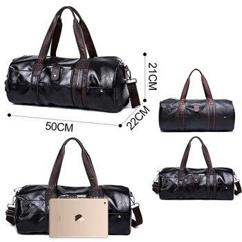 Sports Bag Men for Gym Yoga Soft Pu Leather Black Brown Cylindrical Sport Fitness Bag Male Shoulder Travel Luggage Bag XA594WD 4
