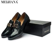 2017 hombres de cuero zapatos MeiJiaNa Marca hecho a mano cómodo vestido formal hombres pisos