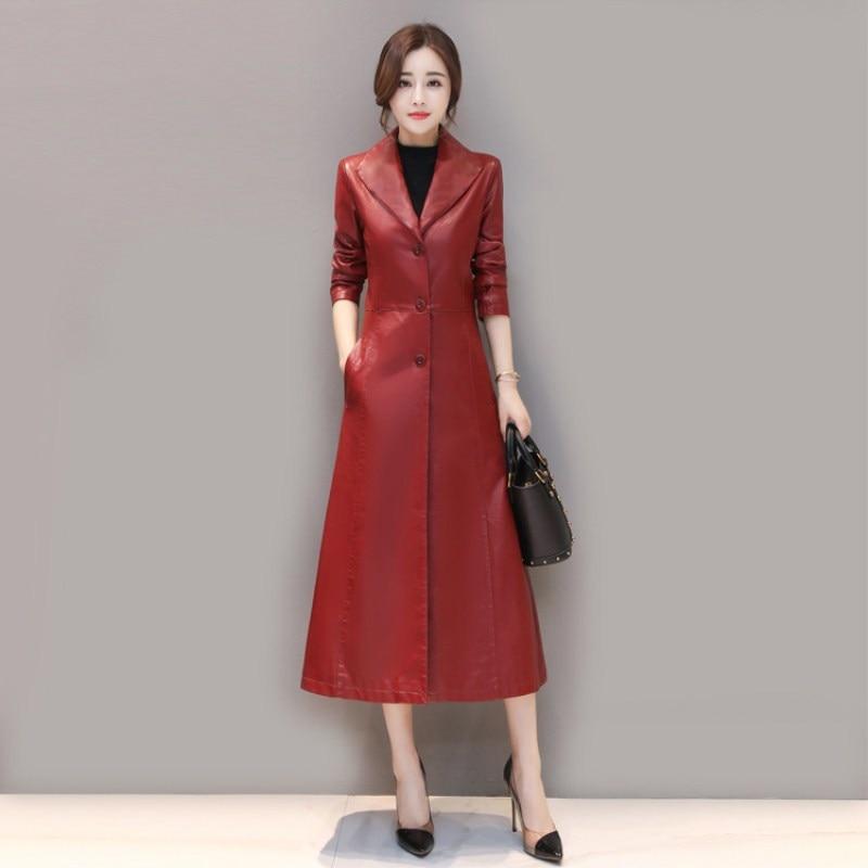leather   jacket women spring autumn Slim Long   Leather   Jacket black red   Leather   Trench coat plus size m-5XL k813