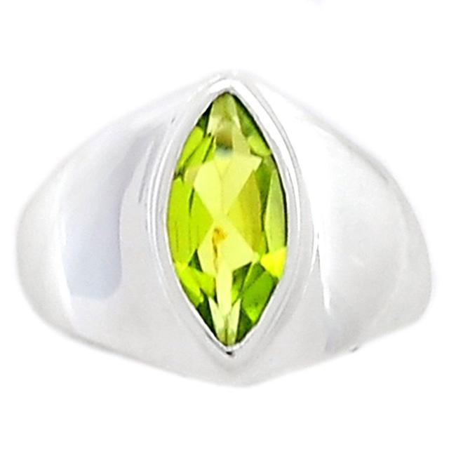 Lovegem Genuine Peridot Ring 925 Sterling Silver,Size :6.25, AR1624