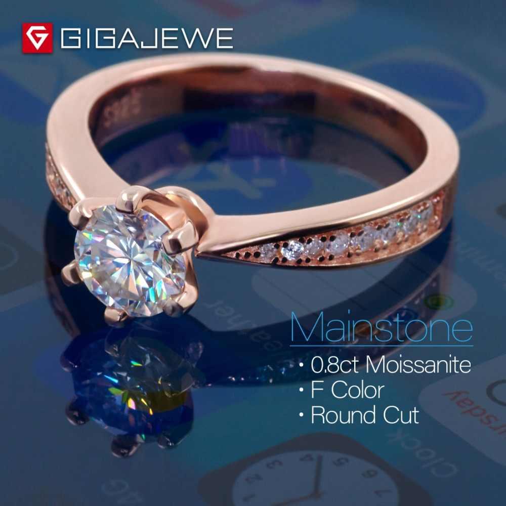 GIGAJEWE 1ct 6.5 มม.EF VVS1 รอบตัด Moissanite 925 แหวนเงินผู้หญิงแฟนของขวัญ