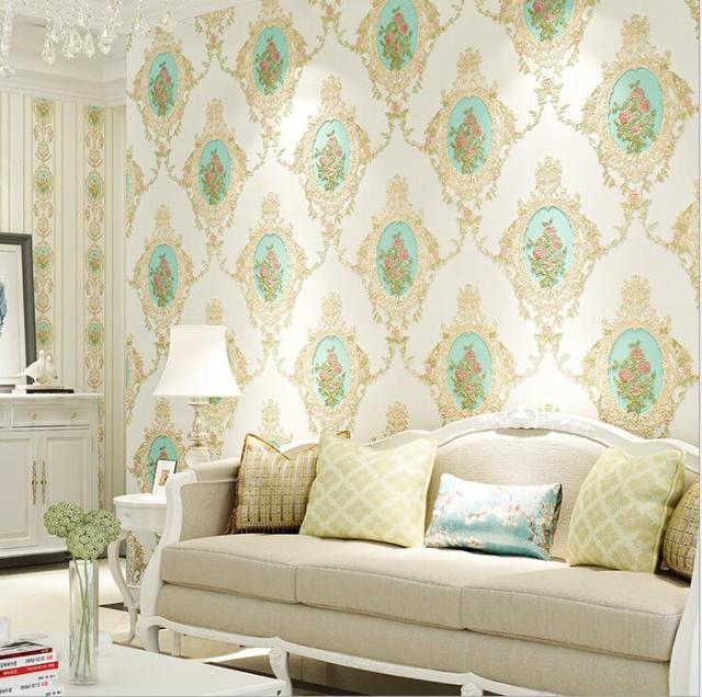 Modern Past Fl Damask Vinyl Wallpaper Roll Bedroom Living Room Wall Paper Non Woven Cover