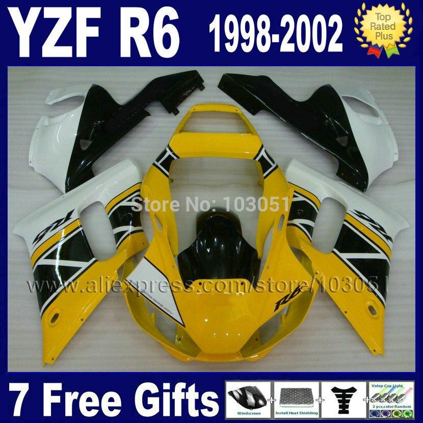 Motorcycle fairings for YAMAHA YZF R6 1998 1999 2000 2001 2002 yellow white  YZFR6 98 99 01 02 YZF600 Fairing body repair parts