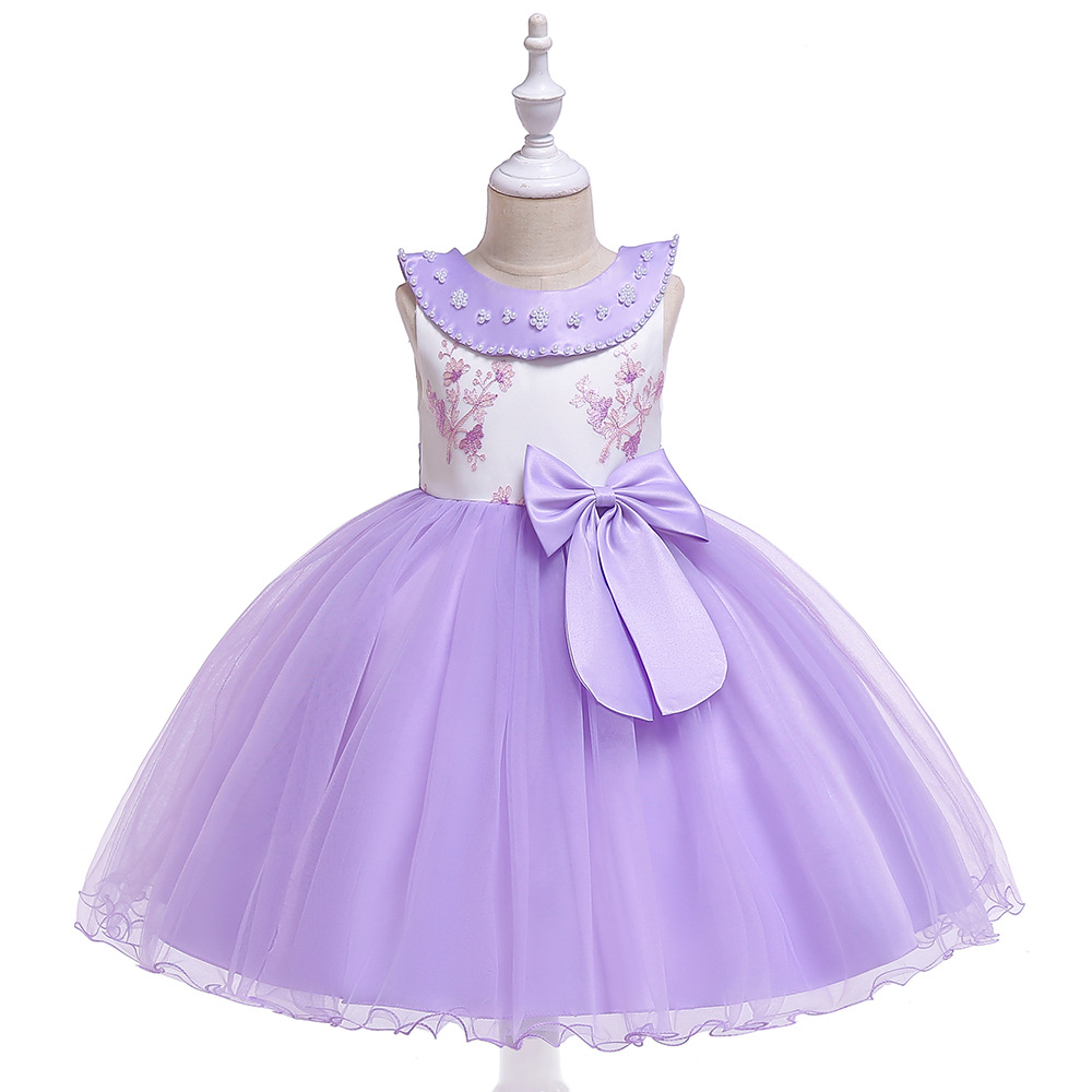2019 Bow Flower Girls Dress for Weddings Birthday Party Princess Girl Singing Performance Model Show Costume Gift 5 Choose in Dresses from Mother Kids