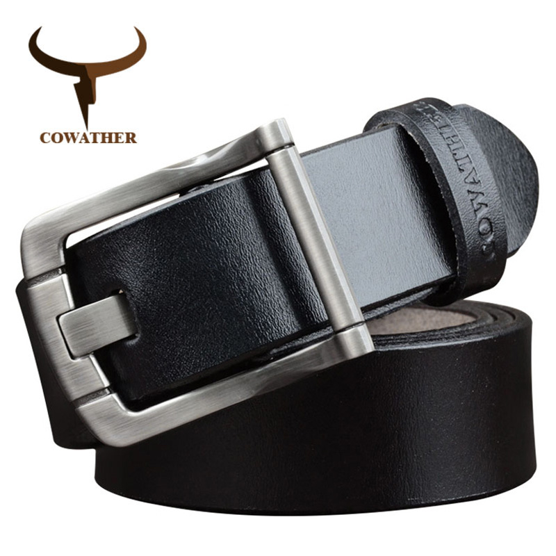COWATHER Men Belts Cow Genuine Leather Belt For Men Cowhide Fashion Alloy Buckle Male Strap Luxury Straps Free Shipping  XF027